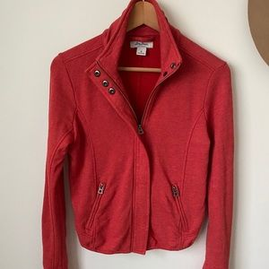 Lucky Brand | red zip up moto style sweater